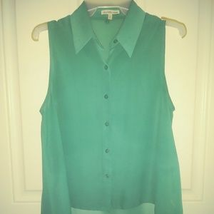 Women's sheer turquoise sleevless dress top
